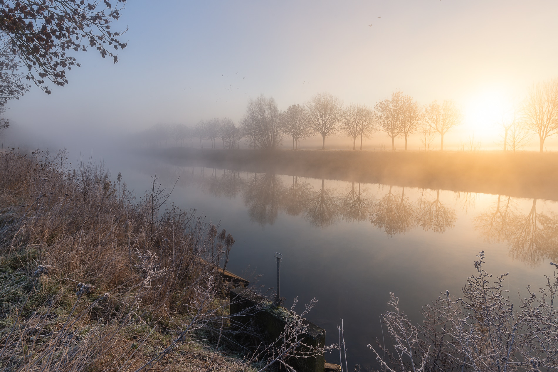Fotografie Krist Hooghe Kalender Menen Januari Leie zonsopkomst