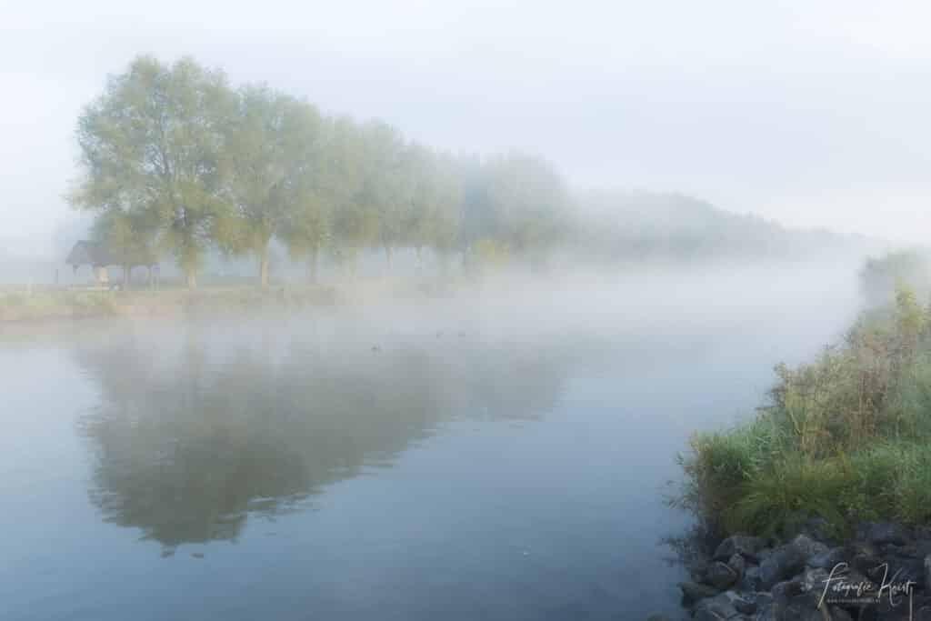 Een mistige ochtend langs de Leie in Kortrijk, Belgium-2
