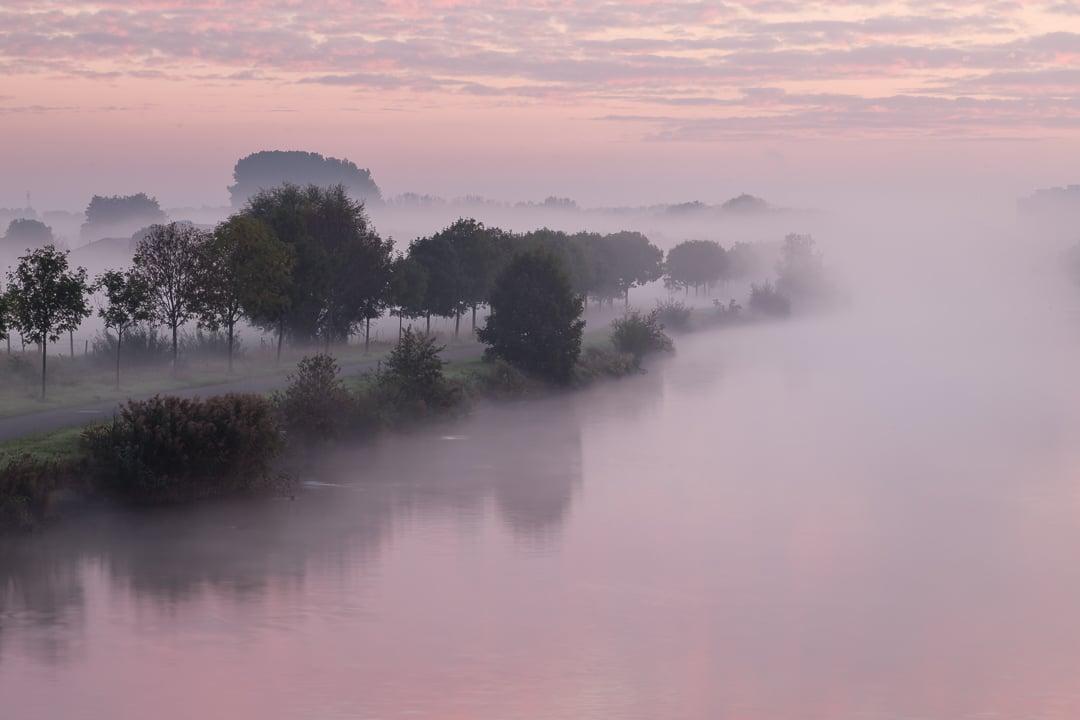 Mistige ochtend langs de Leie in Menen - Fotografie Krist